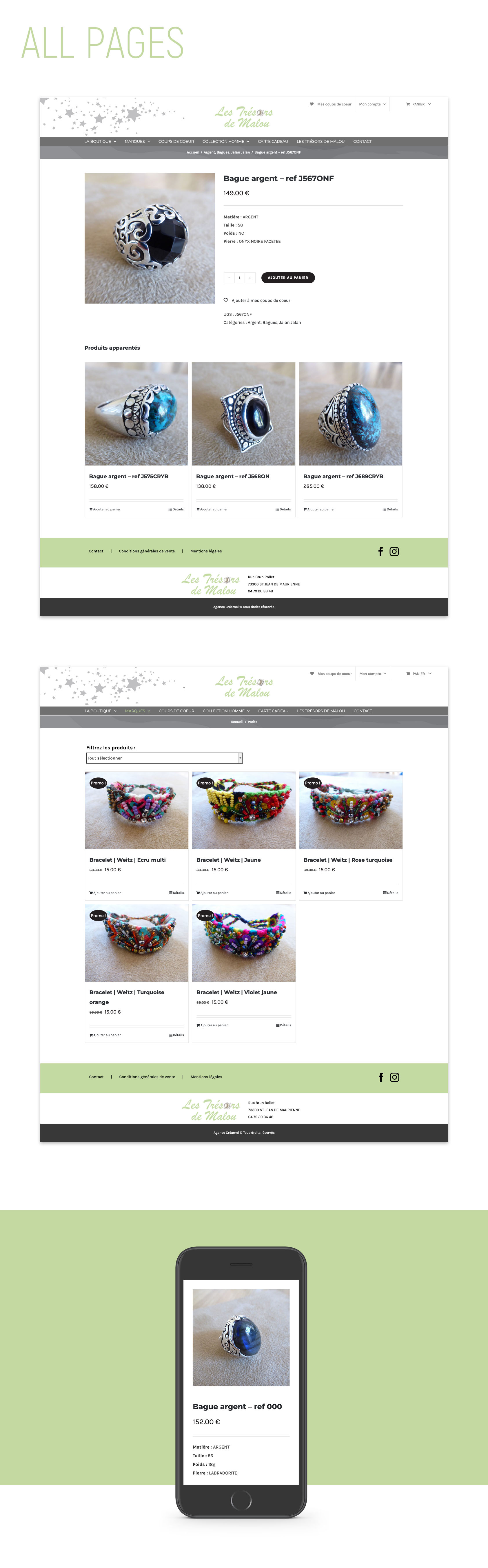 Page type boutique en ligne Trésors de Malou